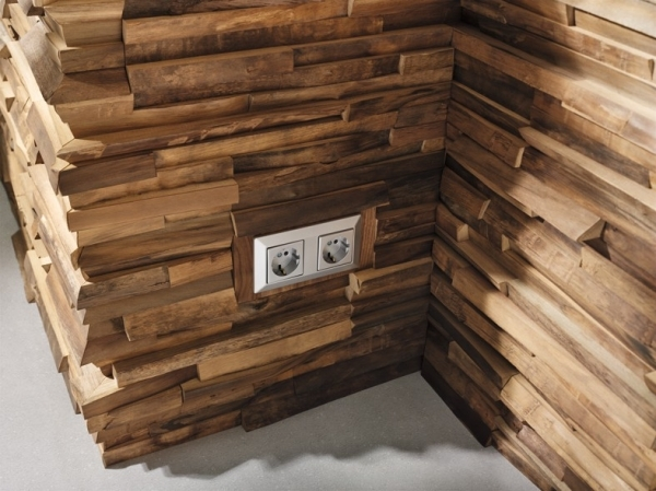 Wandverkleidung Holz Nussbaum ~ Wandverkleidung Waldkante, Holzblende für Steckdose 2 fach