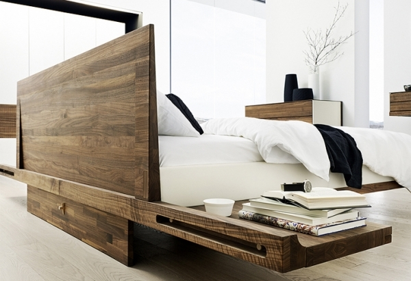 riletto bett mit lederbettseiten holzhaupt mit konsole betten. Black Bedroom Furniture Sets. Home Design Ideas